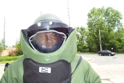 Bomb technician wearing a bomb suit