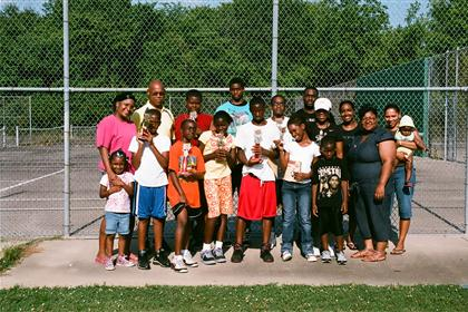 Tennis class group photo with family