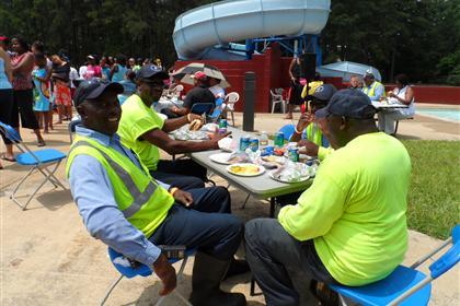 Public Works guys taking a break at picnic