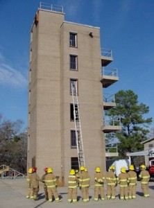 Firefighters and training tower
